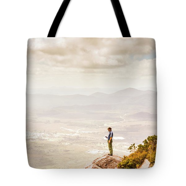 Young Traveler Looking At Mountain Landscape Tote Bag