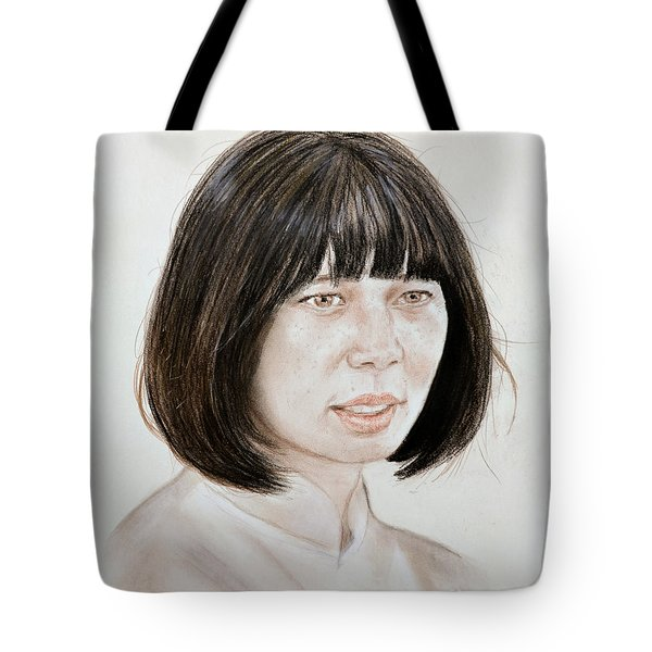 Tote Bag featuring the mixed media Young Vietnamese Woman by Jim Fitzpatrick