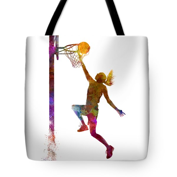 Young Woman Basketball Player 04 In Watercolor Tote Bag