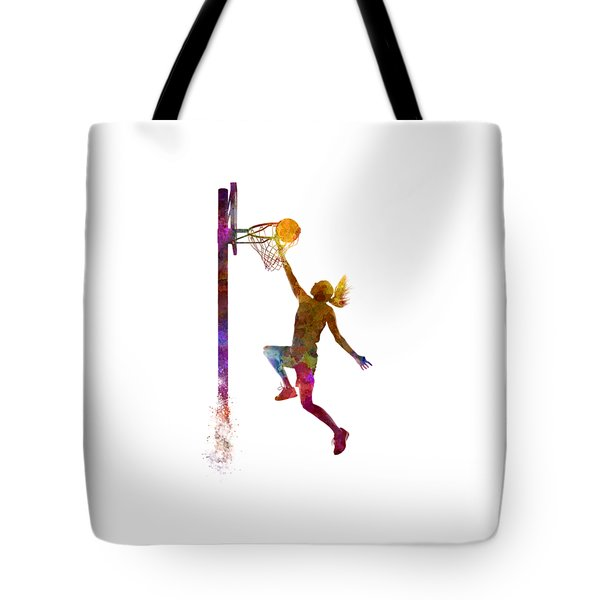 Young Woman Basketball Player 04 In Watercolor Tote Bag by Pablo Romero