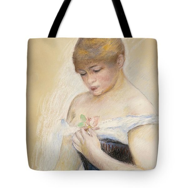 Young Woman Holding A Flower. Portrait Of Jeanne Samary Tote Bag