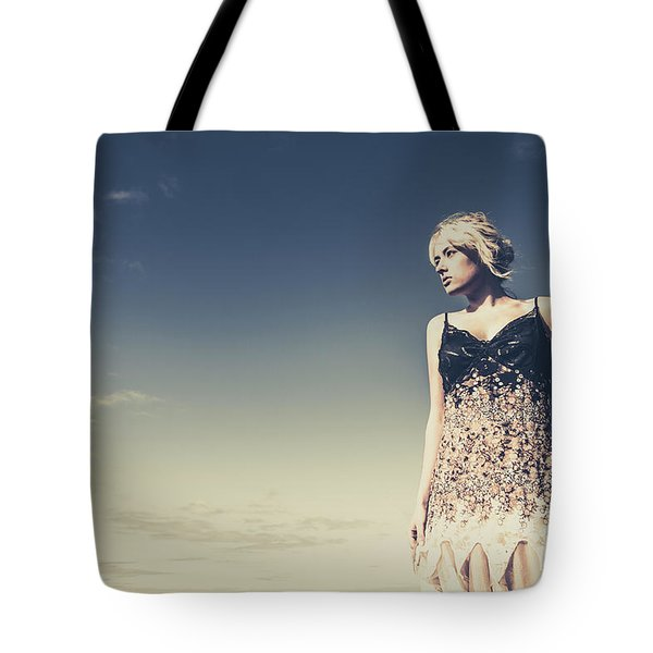Young Woman Standing On The Beach Tote Bag