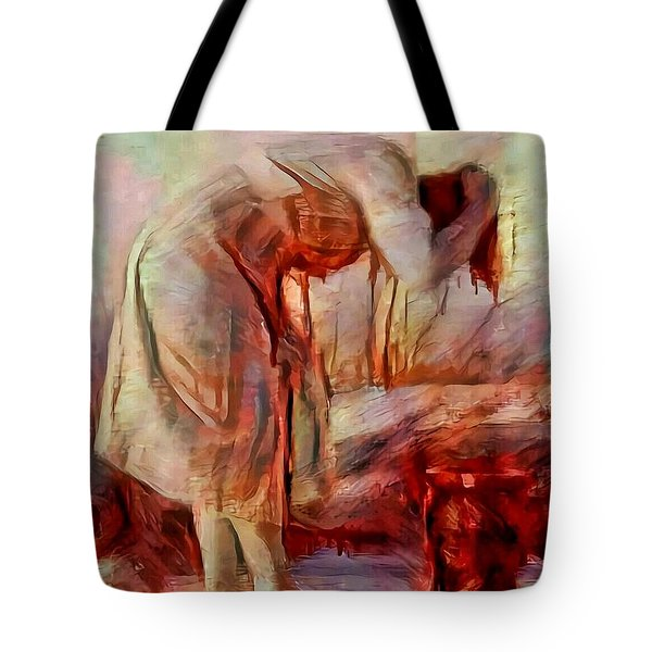 Young Woman Washing River Bent Over Old Master Sketch Painting In Orange Blue Oil-like Acrylic Warm Paint Tote Bag
