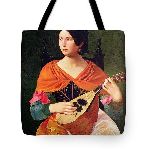 Young Woman With A Mandolin Tote Bag by Vekoslav Karas
