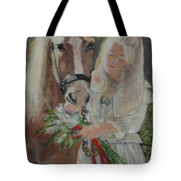 Young Woman With Horse Tote Bag