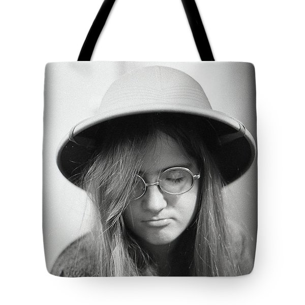 Young Woman With Long Hair, Wearing A Pith Helmet, 1972 Tote Bag
