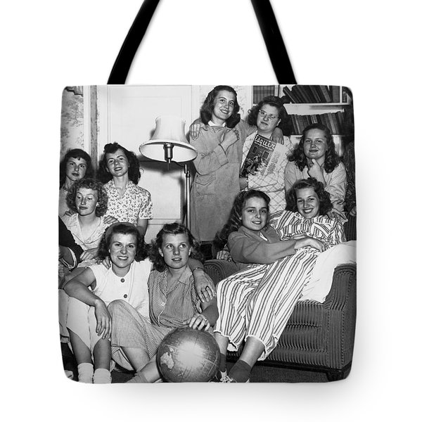 Young Women College Students Tote Bag