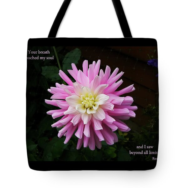 Your Breath Touched My Soul Tote Bag by Rhonda McDougall