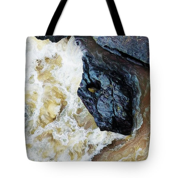 Yuba Blue Boulder In Stormy Waters Tote Bag