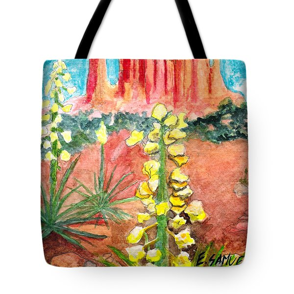 Tote Bag featuring the painting Yucca In Monument Valley by Eric Samuelson