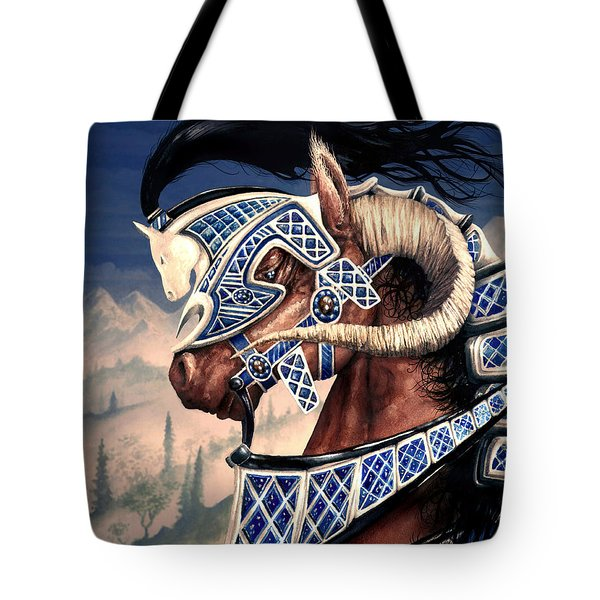 Tote Bag featuring the painting Yuellas The Bulvaen Horse by Curtiss Shaffer