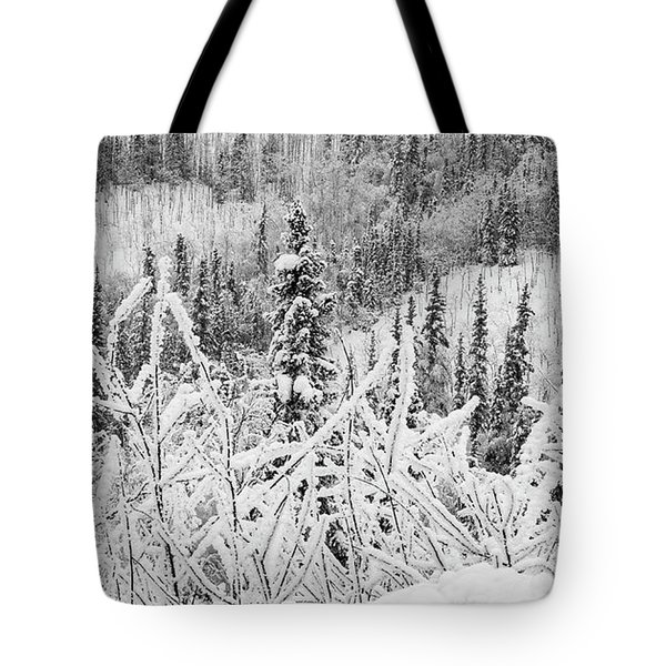 Tote Bag featuring the photograph Yukon Snow Scene Black And White Contrast by Phyllis Spoor