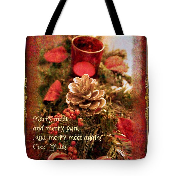 Tote Bag featuring the digital art Yule Greetings 2017 by Kathryn Strick