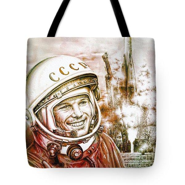 Yuri Gagarin - Cosmonaut 1961 Watercolor Tote Bag