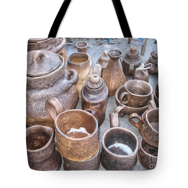 Tote Bag featuring the pyrography Yury Bashkin Market by Yury Bashkin