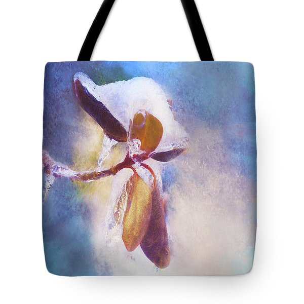 Winter Abstract - Snow And Ice On Rhododendron Leaves Tote Bag