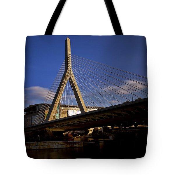 Zakim Bridge And Boston Garden At Sunset Tote Bag by Rick Berk