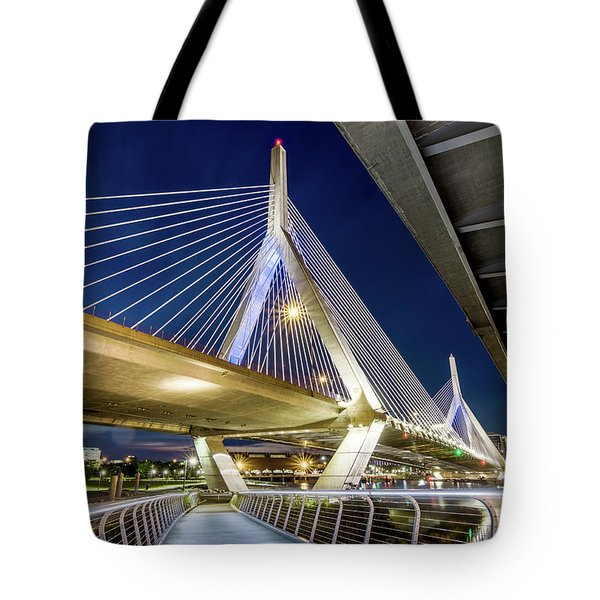 Zakim Bridge From Bridge Under Another Bridge Tote Bag