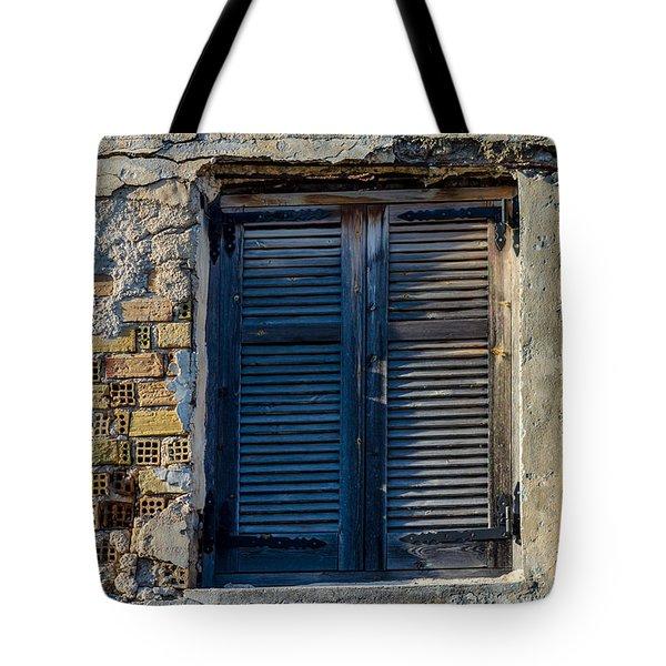 Zakynthos Town Window Tote Bag by Rainer Kersten