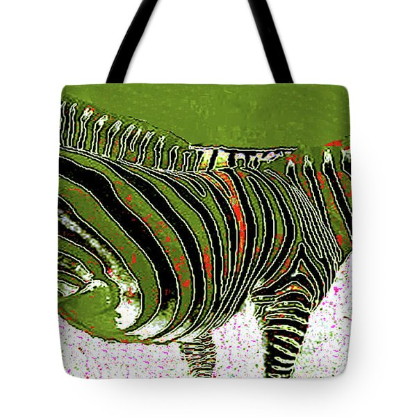 Tote Bag featuring the photograph Zany Zebra - Digitally Modified Photograph by Merton Allen