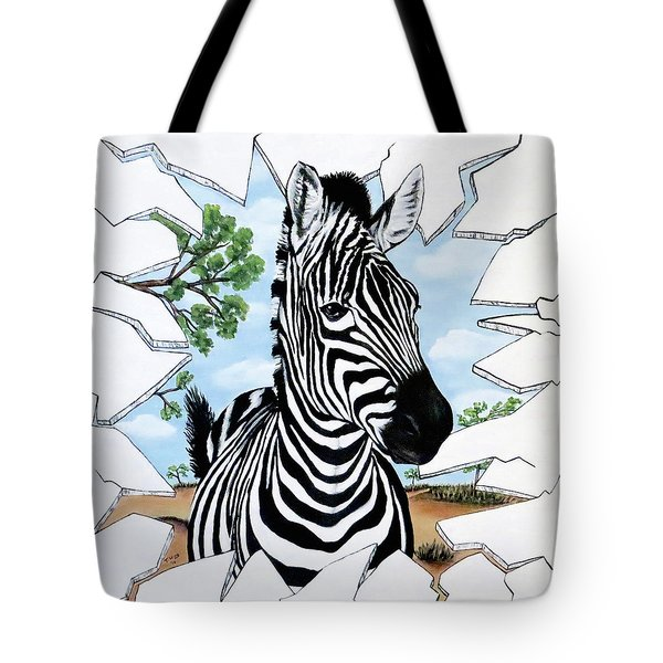 Tote Bag featuring the painting Zany Zebra by Teresa Wing
