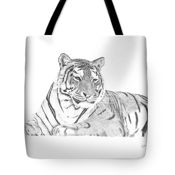 Tote Bag featuring the drawing Zarina A Siberian Tiger by Patricia Hiltz