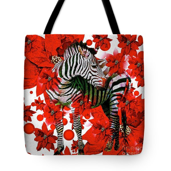 Zebra And Flowers Tote Bag