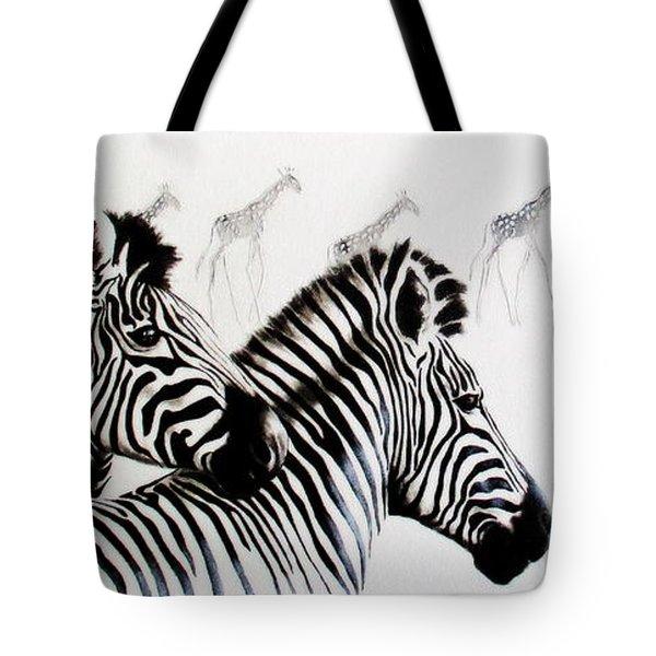 Zebra And Giraffe Tote Bag