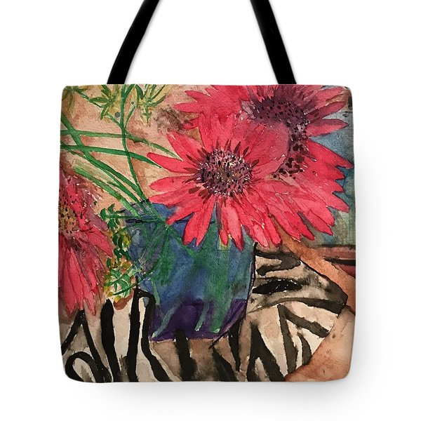 Zebra And Red Sunflowers  Tote Bag