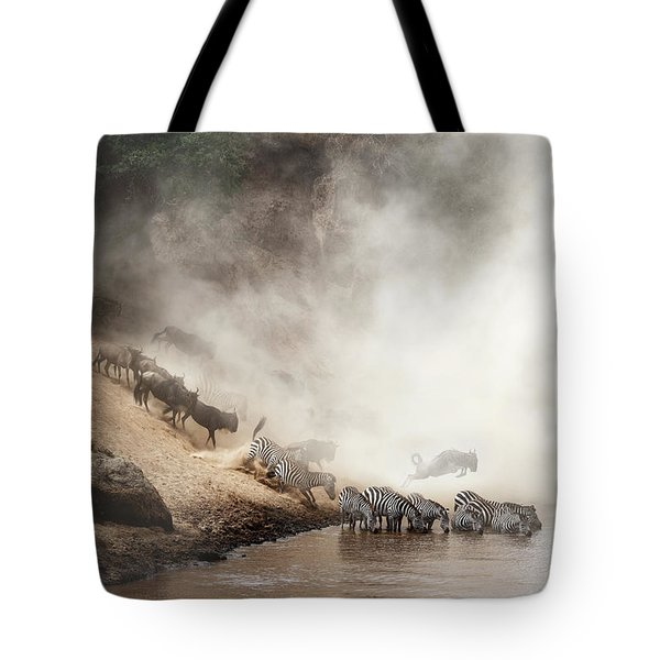 Zebra And Wildebeest Migration In Africa Tote Bag