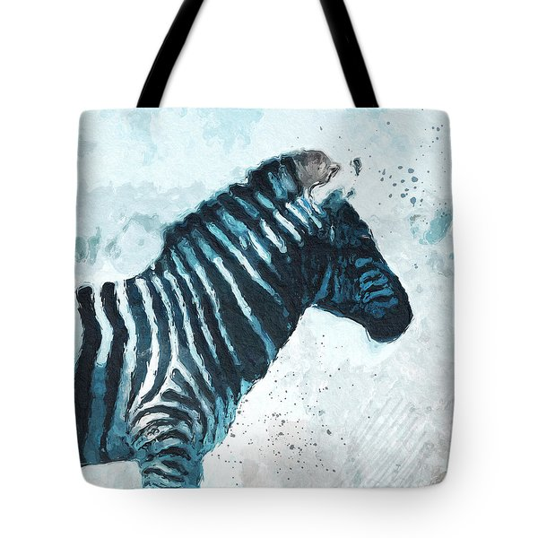 Zebra- Art By Linda Woods Tote Bag by Linda Woods