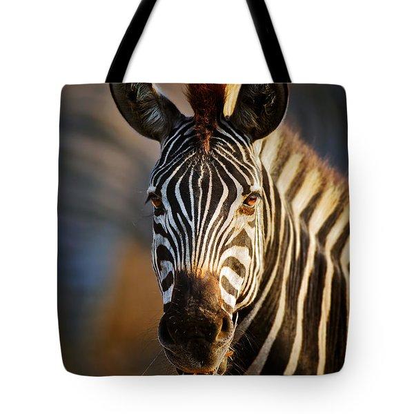 Zebra Close-up Portrait Tote Bag