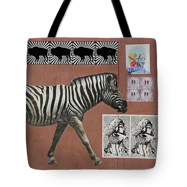 Tote Bag featuring the photograph Zebra Collage by Art Block Collections
