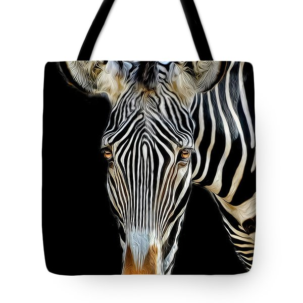 Tote Bag featuring the photograph Zebra by Dave Mills