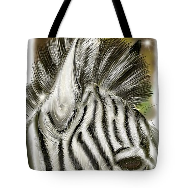 Tote Bag featuring the digital art Zebra Digital by Darren Cannell