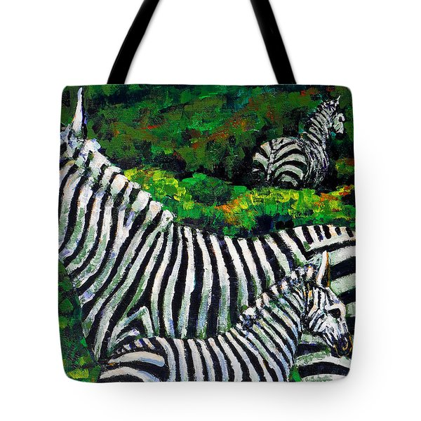 Zebra Family Tote Bag by Shirley Heyn