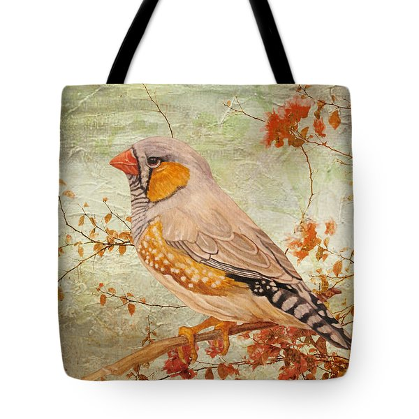 Zebra Finch Among Almond Trees Tote Bag