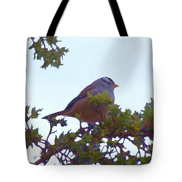 White Crowned Sparrow In Cedar Tote Bag