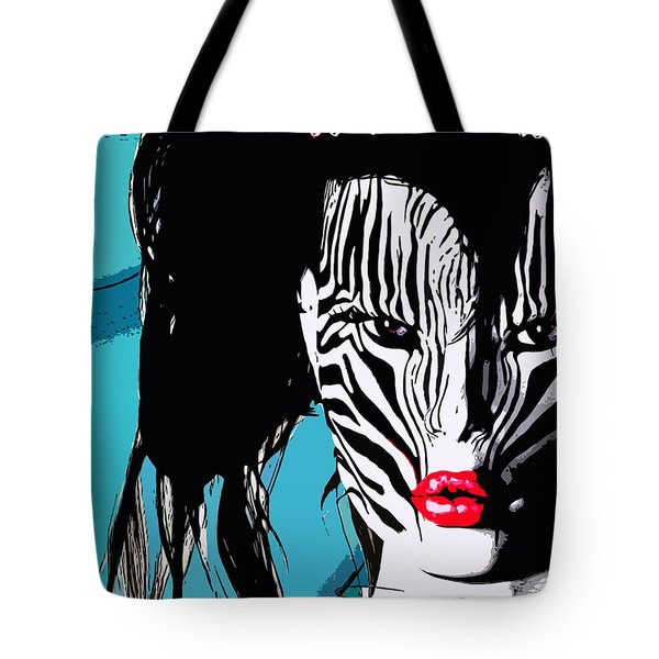 Zebra Girl Pop Art Tote Bag