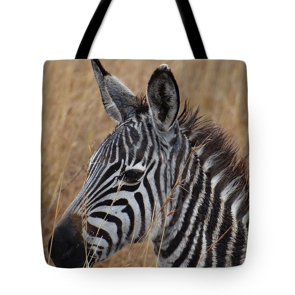 Zebra Half Shot Face On Right Side Tote Bag