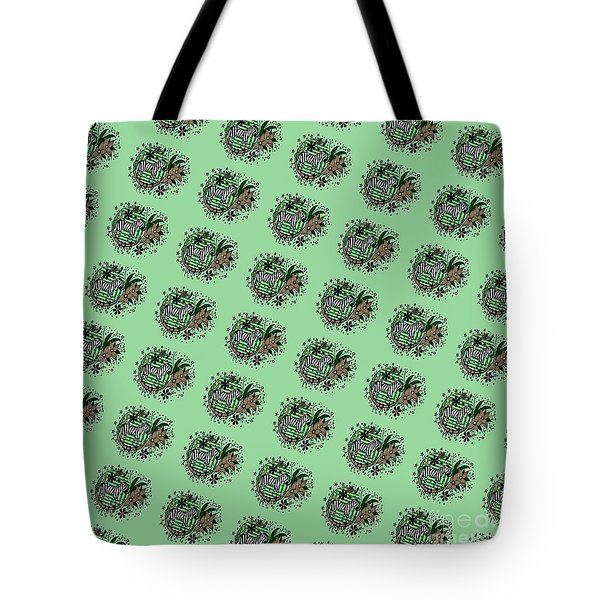 Tote Bag featuring the drawing Zebra Illustration Pattern by Saribelle Rodriguez