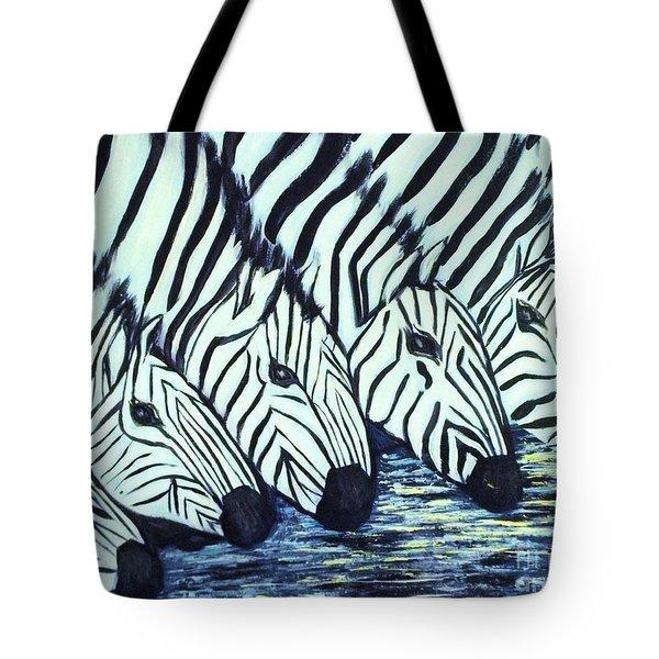 Zebra Line Tote Bag by Donna Dixon