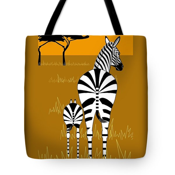 Zebra Mare With Baby Tote Bag