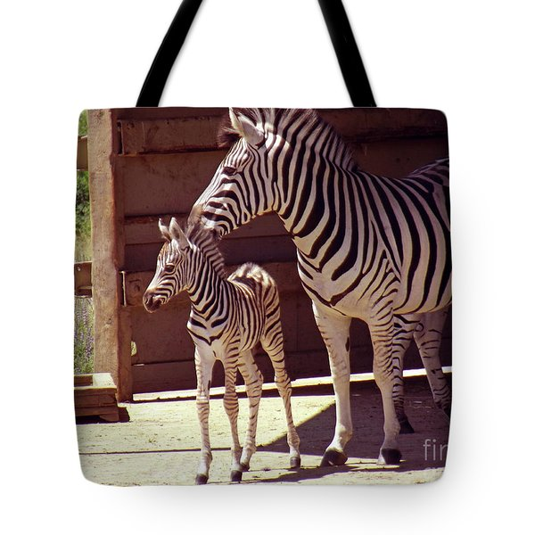 Zebra Mom And Baby Tote Bag by Methune Hively