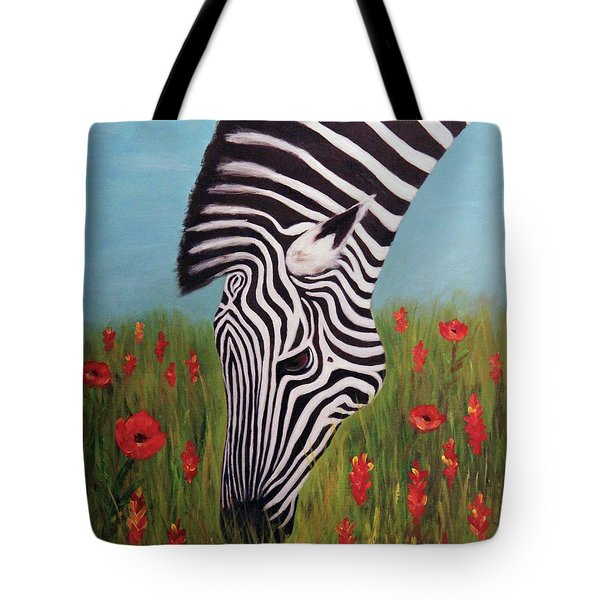 Zebra Munching Tote Bag