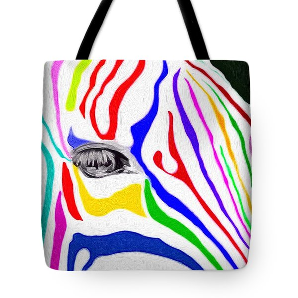 Tote Bag featuring the painting Zebra Nothing Is Black And White by Mark Taylor