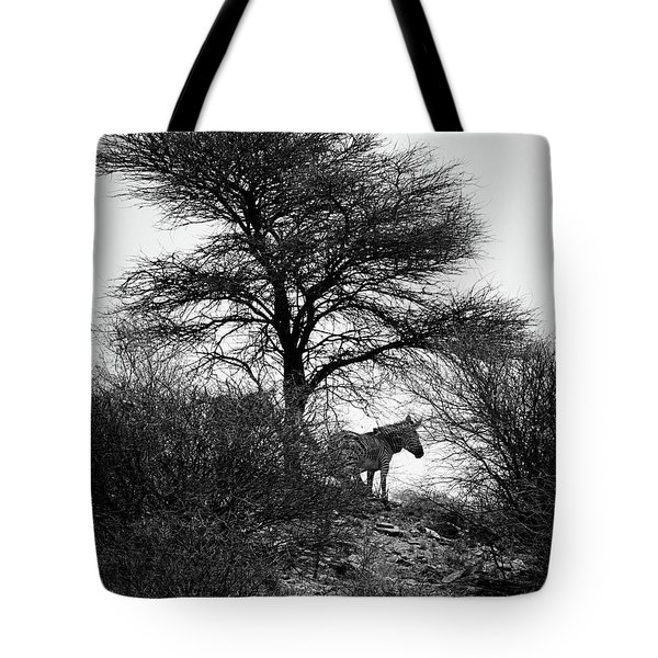 Tote Bag featuring the photograph Zebra On A Hill  by Ernie Echols