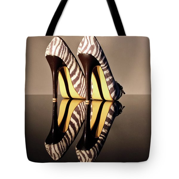 Tote Bag featuring the photograph Zebra Print Stiletto by Terri Waters