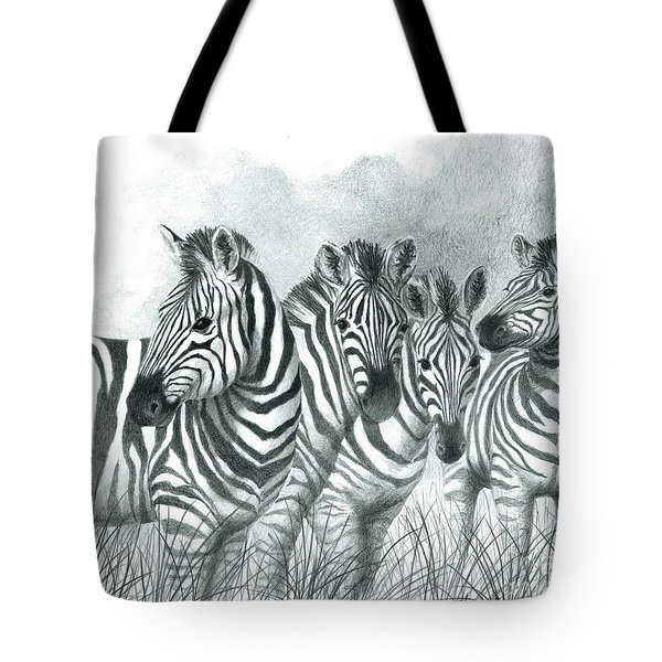 Tote Bag featuring the drawing Zebra Quartet by Phyllis Howard
