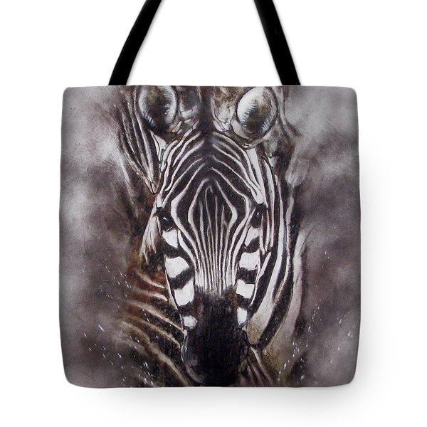 Zebra Splash Tote Bag